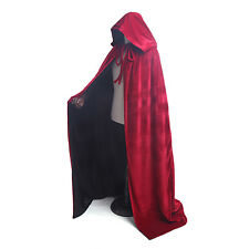 Velvet Hooded Cape Cloak Gothic Vampire Wicca Robe Medieval Larp Costume