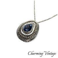 Vintage Sterling Made In Israel Filigree Faceted Aqua Crystal Pendant Necklace