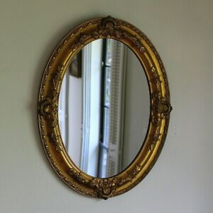 """Antique Oval Gilded Gesso Mirror 24 1/4"""" x 18 3/4"""""""