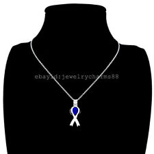 K285 Silver Cancer Breast Awareness Ribbon Sign Steel Necklace Beads Pearl Cage