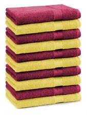 Lot de 10 serviettes débarbouillettes Premium couleur: jaune & rouge foncé