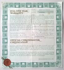 Vintage Rolex Watch Warranty & Official Chronometer Certification