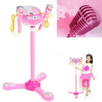 Kid Music MP3 Player Karaoke System Machine Toy Set With 2 Microphones w/ Stand