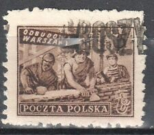 """Poland 1950 Reconstruction Warsaw - surcharged """"GROSZY""""  Fi.513 - used"""