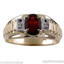 Mens Garnet & Diamond Ring 14K Yellow Gold January Birthstone