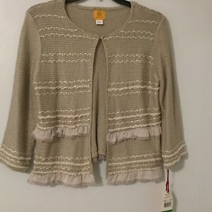 Ruby Rd Woman's Size Large Cardigan Knitting Pretty Oyster Beige Open Front New