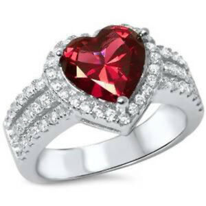 3ct Heart Shape Ruby & Cz .925 Sterling Silver Ring