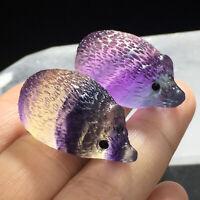 5Pcs Natural Quartz Crystal Skull Carved Rainbow Fluorite Hedgehog Stone Healing