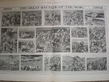 Great battles of the Boer War 1899 to 1902 old print 1902