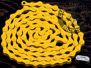 "Yellow Single Speed Fixie Bicycle Chain YBN 1/2x1/8""112 Schwinn Cruiser Bike BMX"