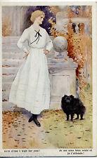 WILSON L'attesa Donnina con Cane Volpino Glamour Girl with Dog PC Circa 1915