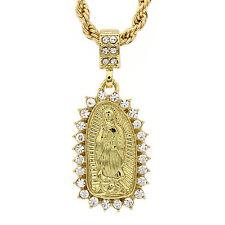 "Men's Hip Hop Micro Mini Guadalupe Cz  24"" 4mm Rope Chain Pendant Necklace Set"