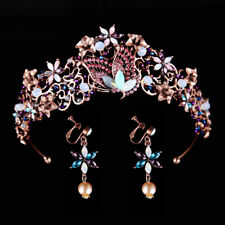 6cm High Copper Crystal Flower Wedding Bridal Party Pageant Prom Tiara Earrings