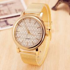 Women's Fashion Gold Watch Metal Mesh Band Simple Dial Quartz Wrist Watch TW1
