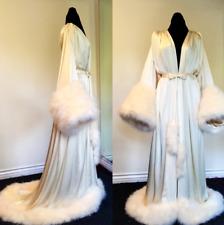 Women Winter Long Robe Nightgown Bathrobe Pajamas Sleepwear With Fur Train