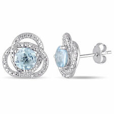 Amour Sterling Silver Blue Topaz and Diamond Love Knot Earrings