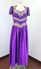 Vtg 80s Inspired Purple Gold Sequin Beaded Prom Formal Princess Dress Size L ?