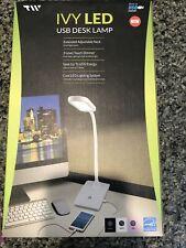 Ivy USB LED White Desk Lamp
