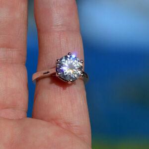 Excellent 3.50 Carat Hawaii Estate Ring! White 9.5mm Genuine MOISSANITE