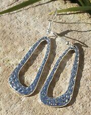 Silver Hoop Earrings Hammered Large Tibetan Statement Dangly Hook Gift Present