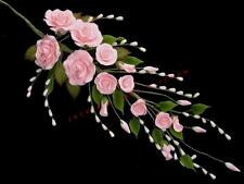 Trailing pink sugar rose wedding cake topper decoration – reduced to clear