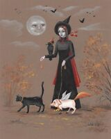 8x10 print of PAINTING HALLOWEEN RYTA WITCH BLACK CAT VINTAGE STYLE Bat Salem