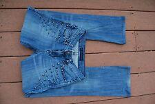 Blue Denim ROCK & REPUBLIC KASANDRA Stretch Boot Jeans w/Cone Shaped Studs 0