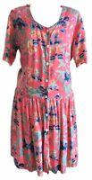 Vintage Kosinski Coral Cottagecore Floral 90s Smock Drop Waist Dress M 8 10