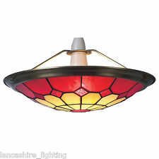 Red Tiffany Bistro Style Uplighter Ceiling Light Pendant Shade - Large UPL27