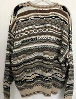 Vintage John Ashford Sweater Men XLarge XL Beige 1990s Cosby Coogi Style Hip Hop