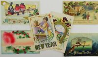 Lot of 6 Vintage C. 1910 New Year's Post Cards Some Embossed, Birds, Mechanical