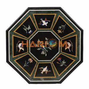 "36"" Bird Floral Marble Dining Table Semi Precious Top Inlay Hallway Decors B311"