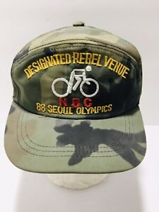 Vintage 1988 Seoul Korea Olympics Snapback Hat Bicycle Cap Camoflage Camo 80's
