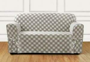 Buffalo Check One Piece loveseat  size Slipcover TAN