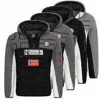 Geographical Norway Jacke Herren Fleecejacke Übergang Fleece Parka Kapuze RKALO