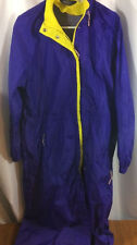 Woolrich Nylon Packable Trench Coat Vented Hoodie Raincoat Size M Blueberry
