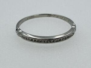 Antique Art Deco Platinum Diamond Band Ring Size 8.5