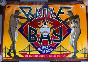 1989 WORLD SERIES MARK MCGWIRE WILL CLARK BATTLE OF THE BAY POSTER ATHLETICS A'S