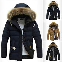 Mens Warm Down Jacket Fur Collar Hoodies Thick Winter Coat Outwear Hooded Parka