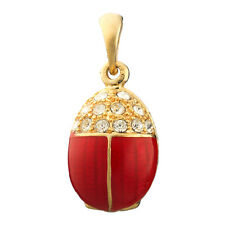Faberge Egg Pendant / Charm Bug with crystals 2.4 cm orange #P04-05-04