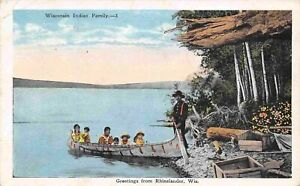 Wisconsin Native American Indian Family Berry Pickers Rhinelander 1927 postcard