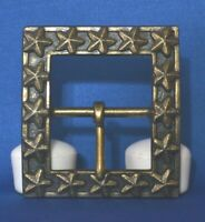 "RARE LARGE SQUARE HEAVY SOLID BRASS ANTIQUED STAR REENACTOR BUCKLE 3"" X 3"""