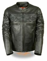 MEN'S MOTORCYCLE REFLECTIVE BLK SKULL LEATHER SCOOTER JACKET W/2 GUN POCKETS NEW