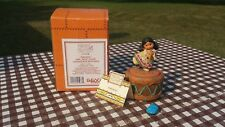 Enesco Friends of The Feather Figurine Harmony Girl With Flute Covered Box Rock