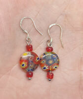 Vintage Red Floral Millefiori Beaded Dangle 925 Hook Pierced Earrings