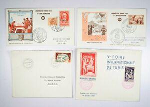 TUNISIA 4 Buste Primo Giorno Enveloppes Premier Jour Tunisie 1953 1955 1957