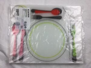 """4 IKEA KLISTRIG CLEAR PLASTIC PLACEMATS WITH Place SETTINGS 15""""x12"""" easy clean"""