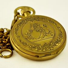 Vintage Copper Full Hunter Engraving Mechanical Hand Wind Pocket Watch FOB Chain