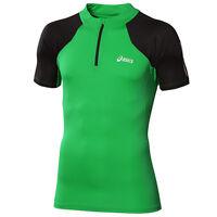 Asics Short Sleeve 1/2 Zip Up T-Shirt Mens Running Top Green 113195 0904 UA81