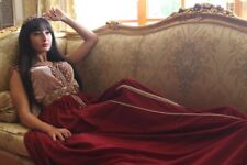 Designer Sleeveless Moroccan  Takchita Caftan kaftan Size S-M Red Chiffon Abaya